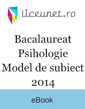 Bacalaureat Psihologie | 2014 Model de subiect